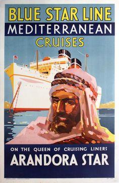 Original Vintage Posters -> Travel Posters -> Blue Star Line Arandora Mediterranean Cruises - AntikBar