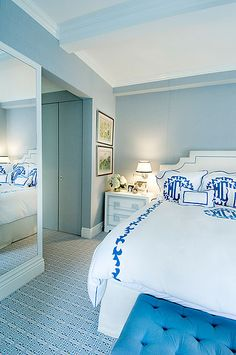 Blue Bedroom - soft blue, white, royal blue for accents.