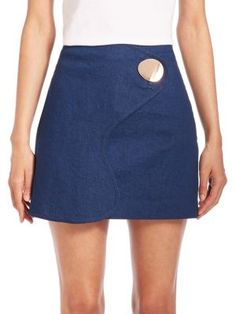 Opening Ceremony - Denim Big Button Mini Skirt