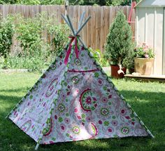 Child's TeePee Playhouse in Pink and Chartreuse Suzani
