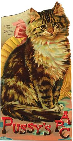 "PUSSY'S ABC. ca 1890. Folio, (7.5 x 14.5""), Die-cut in the shape of a cat and illustrated with great color cover."
