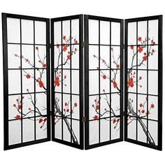 Oriental Furniture 4 ft. Tall Cherry Blossom Shoji Screen - Black - 4 Panels