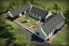 ✩ Check out this list of creative present ideas for people who are into photograhpy Modern Barn House, Modern Bungalow, U Shaped Houses, Cottage Renovation, Modern Farmhouse Exterior, Courtyard House, Dream House Exterior, Home Fashion, Future House