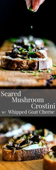 Crunchy and creamy with a hint of lemon. Seared Mushroom Crostini with Herb-Whipped Goat Cheese makes a beautiful appetizer your guests will love.