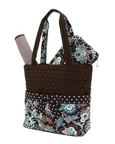 Diaper Bag - Chocolate  amp  Blue Paisley Turquoise Quilt, Baby Changing  Pad, Wipes ff7f76d413