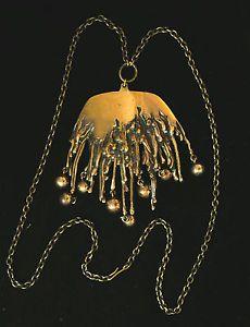 VTG, MODERNIST- PENTTI SARPANEVA HUGE BRONZE NECKLACE, Turun Hopea, Finland Bronze Pendant, Brass, Beaded Jewelry, Jewellery, Brutalist, Finland, 1960s, Beading, Vintage Jewelry