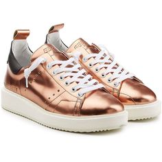 Golden Goose Metallic Leather Starter Sneakers (€221) ❤ liked on Polyvore featuring shoes, sneakers, gold, leather lace up shoes, golden goose sneakers, white lace up sneakers, metallic sneakers and lace up shoes