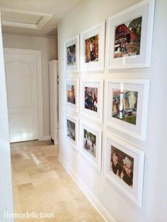 Family photo wall gallery with budget white frames. - Family photo wall gallery with budget white frames. Family Wall, Family Room, Family Picture Walls, Hanging Family Pictures, Display Family Photos, Family Photos On Wall, Family Photo Frames, Frames On Wall, White Frames
