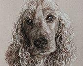 Dog portrait drawn in sepia pencil, classically hand drawn sepia portrait drawing.
