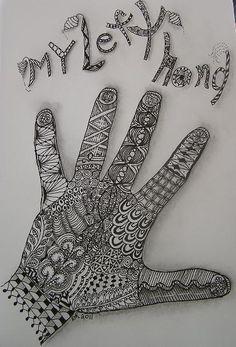 My Left Hand by Craftydr Zentangle Drawings, Doodles Zentangles, Zentangle Patterns, Tangle Doodle, Doodle Art, Hand Kunst, Art Worksheets, Palmistry, Hand Art