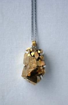 Gold quartz druzy necklace set in sterling by BABETTEjewelry