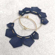 Items similar to Leather earrings, navy leather geometric gold hoop earrings on . - Items similar to Leather earrings, navy leather geometric gold hoop earrings on Etsy – Hey, I fo - Geode Jewelry, Clay Jewelry, Jewelry Crafts, Fine Jewelry, Jewelry Making, Dainty Jewelry, Jewelry Ideas, Diamond Jewelry, Diy Leather Earrings