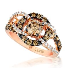 Le Vian Chocolate Diamond Halo Bypass Ring in 14K Rose Gold · YPVS 178 · Ben Garelick Jewelers