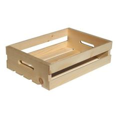 Crates & Pallet 18 in. x 12.5 in. x 4.625 in. Natural Pine Half Crate-67399 - The Home Depot