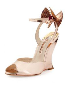 Sophia Webster Rizzo Bow Metallic Wedge Sandal, Rose Gold   Buy ➜…