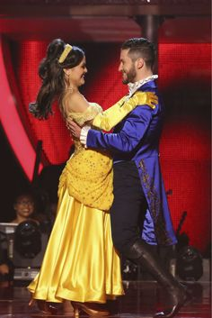 Danica McKellar and Val Chmerkovskiy react to being safe from elimination on week 5 of 'Dancing With The Stars' season 18 -- Disney Night -- on April 14, 2014.