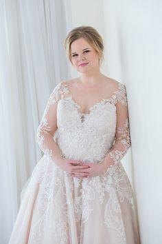 804fd7b1f49e Allure Romance plus-size wedding dress. Long sleeve lace ballgown. Sparkly  lace details