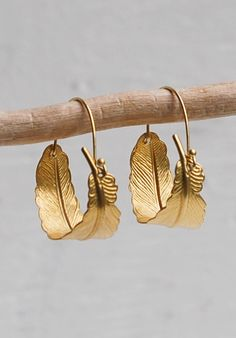 Gold FEATHER Hoop EARRINGS Woodland Nature