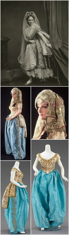 """Fancy dress, by Charles Frederick Worth, c. 1870, at the Metropolitan Museum of Art. Cream and blue silk taffeta, gold metallic, white silk tulle. An authentic Turkish woman's ensemble, embroidered in gold by Turkish artisans, refashioned by Worth into the silhouette of the 1860s/70s. The """"exotic east"""" was a favorite theme for costume balls and tableaux, as is clear from Pierre Louis Pierson's portrait of Countess di Castiglione in oriental costume from around 1865 (photo via Wikimedia…"""