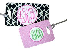 Monogrammed Hard Luggage Tags... to make retrieving those bags a breeze