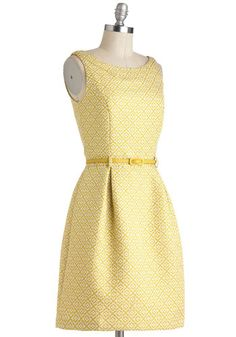 yellow and white dress with subtle square pattern. yellow belted dress.