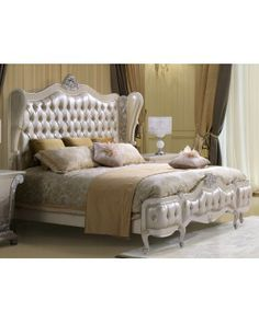 Homey Designs Victorian Curved Button Tufted Headboard With Decorative Trim Leather Bed