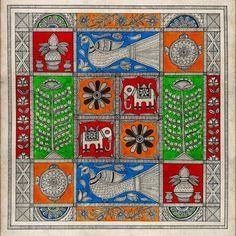 Madhubani Art, Madhubani Painting, Indian Folk Art, Indian Patterns, Tribal Art, Trays, Creative Ideas, Art Drawings, Coasters
