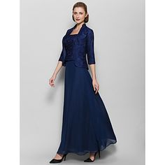 Ankle-length+Chiffon+Bridesmaid+Dress+-+Dark+Navy+Sheath/Column+Square+–+AUD+$+171.59
