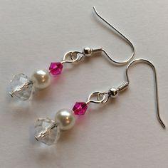 FINAL SUPER SALE  Pearl & Hot Pink Earrings Silver Tone, Glass beads, Clear Faceted Donut, faux Pearl & Hot Pink Bi-Cone Jewelry Earrings