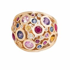 Rockhampton by any definition is a couture ring that is new to Mesh NY's Ring Collection.  This ring is themed for Spring/Summer tones.  This ring is absolutely spectacular!  Designed in 14k with a potpourri of sapphires and diamonds set magnificently for a perfect scheme of color.