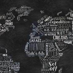 Wanderlust Wall Panel from the Rebel Walls Maps Collection, with a world map formed from a selection of travel-inspired words in white on a blackboard-effect ground. Available at F&P Interiors. Motivational Wall Art, Inspirational Wall Art, Wall Art Quotes, Quote Wall, Blackboard Wall, Chalkboard Art, World Map Wallpaper, Black Background Images, White Wall Art