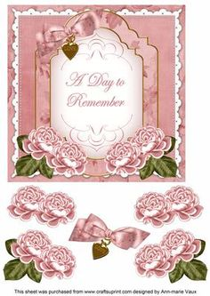 Pink Rose Date to Remember Fancy 7in Decoupage Topper on Craftsuprint - Add To Basket!