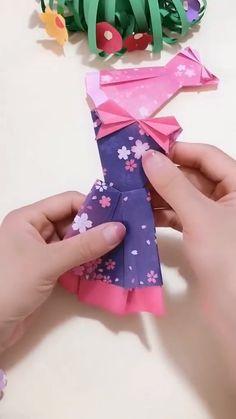 Diy Crafts Hacks, Diy Crafts For Gifts, Creative Crafts, Paper Crafts Origami, Paper Crafts For Kids, Diy Paper, Instruções Origami, Origami Dress, Oragami