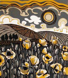 Poppyfield linocut - Jane Walker