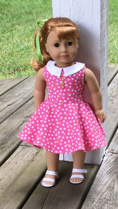Pink and white flowered dress with collar by MySewYouCreations on Etsy. Made following a modified version of the Versatility Dress pattern, available here http://www.pixiefaire.com/products/the-versatility-dress-18-doll-clothes.  #pixiefaire #versatilitydress