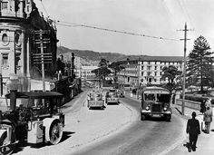 Molesworth Street, Wellington, 1949 - goodbye tram tracks.  One of our family properties must be on the left there probably just out of shot - site where National Library is now.