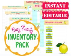 INSTANT and EDITABLE - Home Inventory Printable Organizers - Home Management Binder - 18 Documents