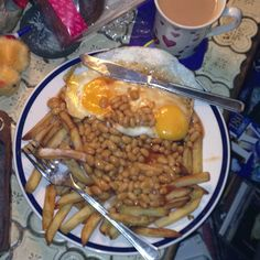 Tea, fried eggs, beans and chips for Supper. :)