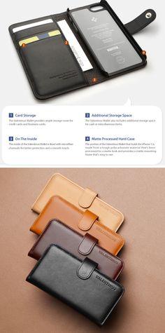 Carcasa protectora para iPhone 5 que simula un folio con ranuras interiores para tarjetas hecha en cuero. Utiliza un marco de policarbonato duro para proteger el dispositivo de los golpes externos. Los colores del exterior y el interior son contrastados para dar una mirada vibrante. Colores disponibles: Negro y marrón oscura.