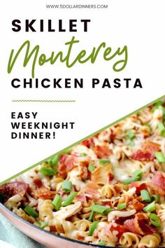 This Skillet Monterey Chicken Pasta dish is perfect for using up leftover chicken, and it's super easy to prepare. With just a few quick minutes in the skillet, dinner is served! Try it out this week! Leftover Chicken Recipes, Leftovers Recipes, Dinner Recipes, Pre Cooked Chicken, Rotisserie Chicken, How To Cook Pasta, How To Cook Chicken, Monterey Chicken, Chicken Pasta Dishes