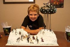My son's Star Wars birthday cake!  The battle of Hoth showing an outer space battle.