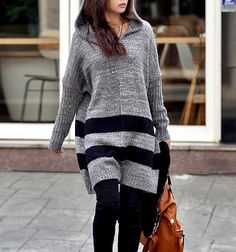Women's Long Hooded Sweater with Stripes