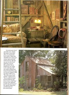 Old home, Carol Hicks Bolton - create a library under tiny loft and add a ladder