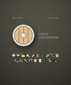 Flat Castle and Weapons Icons by sidmay Flat design modern of brand identity style, web and mobile design, design element objects and collection for company branding, vec