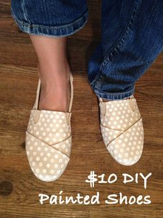 $10 DIY Painted Shoes [faux Toms from Walmart], polka dots, monogram