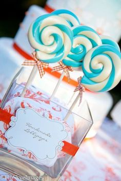 This was an Exclusive birthday party cordinating everything from dessert to clothing to favors and party printables in Tralala Inc patterned fashion prints and it turned out AMAZING! Cute Baby Shower Ideas, Baby Shower Favors, Baby Shower Decorations, Blue Lollipop, Carnival Baby Showers, Blue Party, Orange Party, Love Is Sweet, Party Time