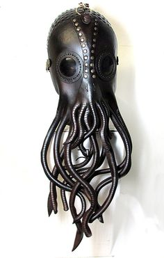 Steampunk Cthulhu Mask, Nautical giant squid leather mask with brass rivets, lenses, giant tentacles