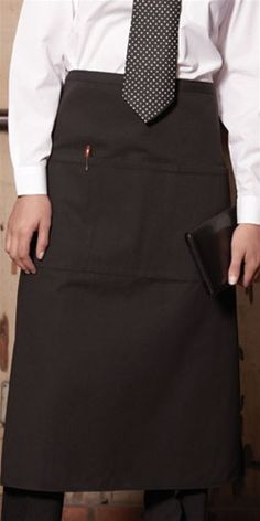 Black Embroidered Waiter Apron with Front Pockets | Custom Waist Apron from Caps to You