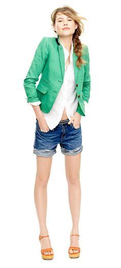 The green blazer is a cute twist.