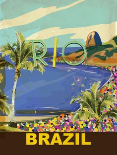 Rio Vintage Travel Poster  by Nicholas Green 20 takes off #airbnb #airbnbcoupon…